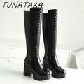 Women Winter Warm Fur Knee High Boots Platform Thick Heels Fashion Side Zipper Tall Boot Footwear