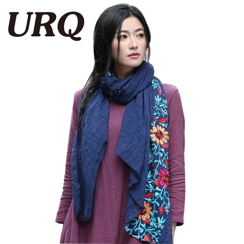 long big embroidered hijab scarves floral viscose shawl ethnic japanese Bandana for Ladies women high quality(China (Mainland))