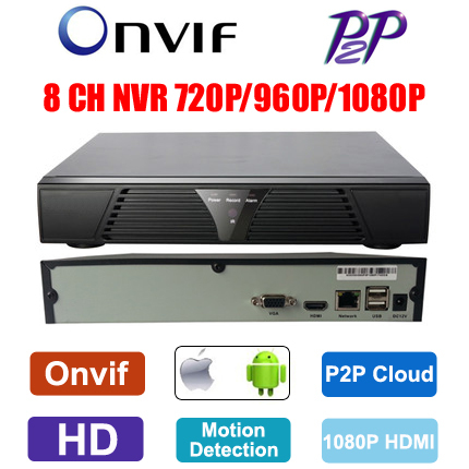 HD 720P/960P/1080P 8 channel Network video recorder 8 ch mini NVR Onvif multi-language HDMI P2P Cloud for ip camera(China (Mainland))