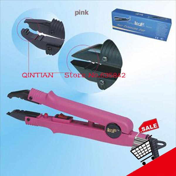 Free shipping - Wholesale LOOF L-611 hair extension iron fusion connector,Electric constant temperature model,pink color