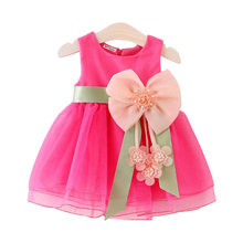 Buy 2017 New Summer Baby Girls Dresses Princess Bow Weddings Dress Kids Birthday Party Dress Costume Children Clothing 0-2 Year for $2.40 in AliExpress store
