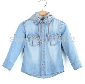 2016 новая мода мальчик джинсовые рубашки мальчик куртка с капюшоном дети ребенок рубашка блузки рубашка мальчика детские пиджаки