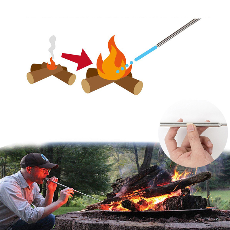 Fire Starting Telescopic Bellows Blow Tube Outdoor Cooking Survival Camping Tool