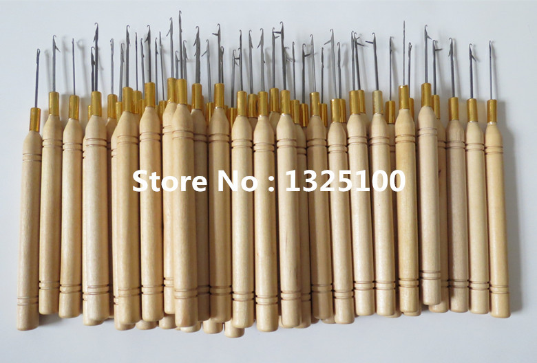 50pcs/pack Wooden Handle Pulling Needle/Micro Rings/Nano Rings/Hook Needle Hair Extensions,Hair Extension Tools(China (Mainland))