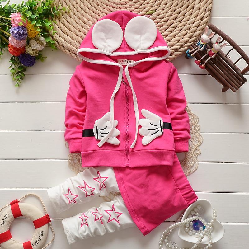 2015 New arrival girls suit shirt + pants 2pcs / set Hoodies culottes suit Minnie cartoon hand Ear Kids girls children kids set(China (Mainland))