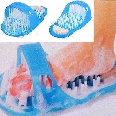 New Hot Bath Shoe Pumice Stone Foot Scrubber Shower Brush Massager Slippers Blue