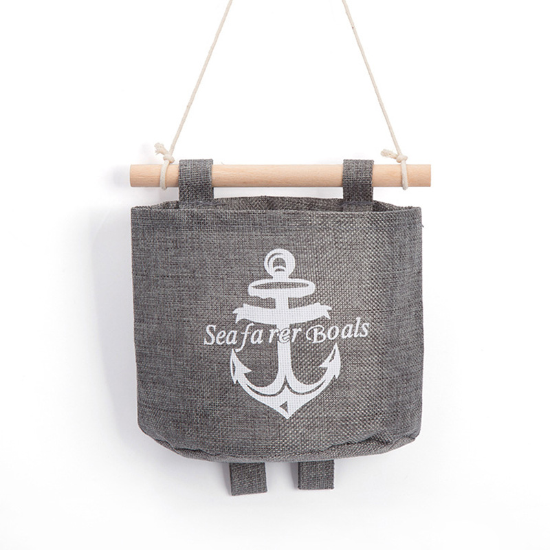 New Navy Style Trendy Cotton Linen Grey Sundries Organizer Hanger Bag Wall Hanging Storage Bag Sale(China (Mainland))