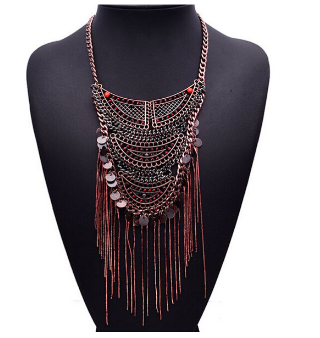 Bohemian vintage bronze wine red bead multicolor long tassel chain multi-layered necklaces & pendants - Fascinating Jewelry store