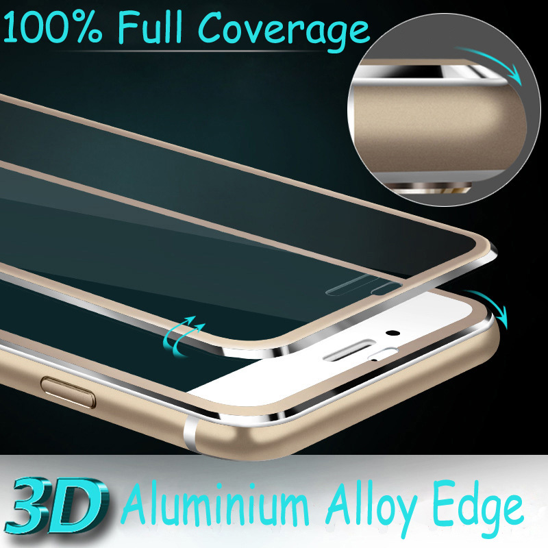 New Arrival Tempered Glass Full Screen Film For iPhone 6 6S 4.7 inch 9H Set Alloy Frame 3D Edge Aluminum Protective Cover Skin(China (Mainland))