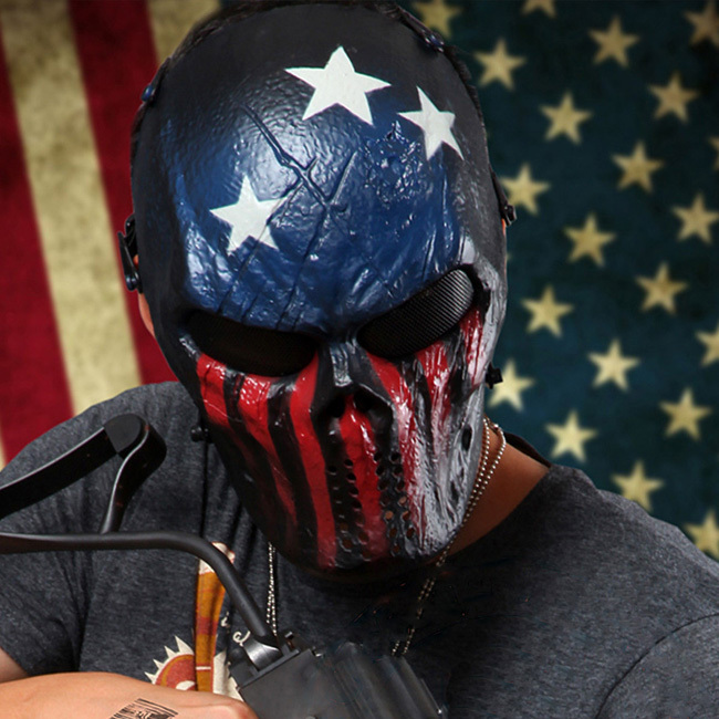 IKAI Wargame Tactical Mask Full Face Paintball Halloween Party Cosplay Horror Gost Skull Black Hunting Military Masks YID0003-5