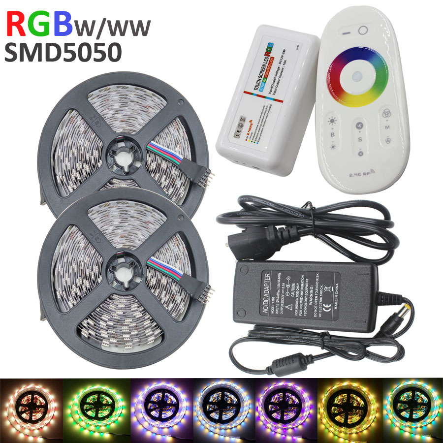 10m 600leds RGBW/RGBWW Flexible LED strip SMD5050 60leds/m tape ribbon dc12V+ 2.4G RF Remote Controller + 6A Power supply Kit(China (Mainland))