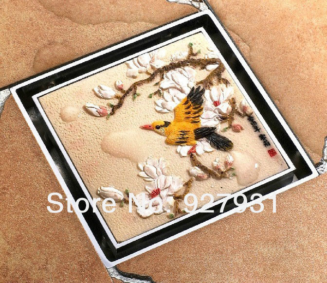 Free Shipping Wholesale and Retail Luxury Birds &amp; Blooms BathrooM Artistic Floor Drain Cover Shower Water Strainer<br><br>Aliexpress