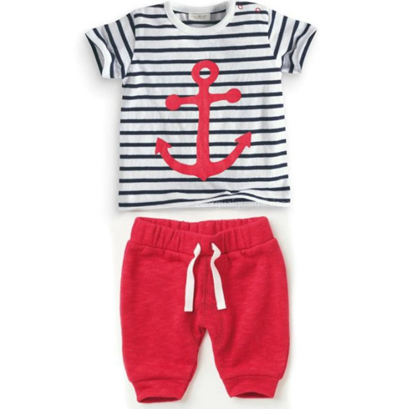 Hot Sales Infant Baby Boys Sets Striped T-shirt Tops+Red Pants 2pcs Outfits Toddlers Suits Clothes 0-3Y(China (Mainland))