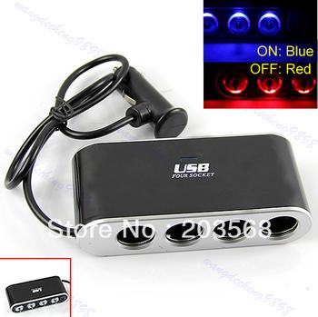 D19+4 Way Port Car Cigarette Lighter Socket Splitter Charger Adapter DC 12V USB LED Free Shipping