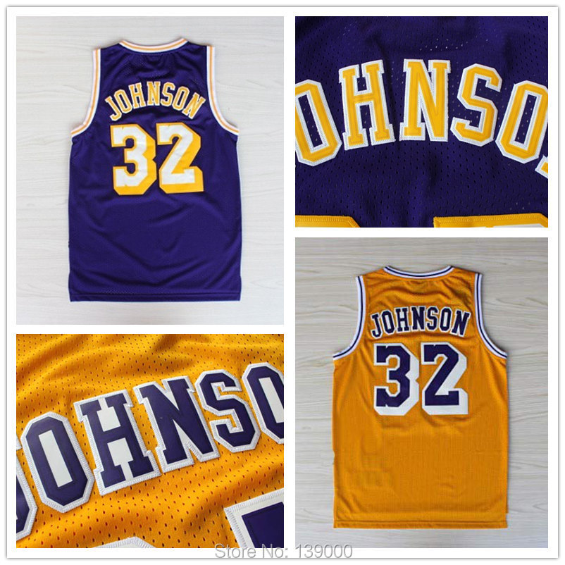 Earvin Magic Johnson Jersey #32 Throwback Basketball Jerseys, New Meterial Embroidery Los angeles Jersey Retro Jersey(China (Mainland))
