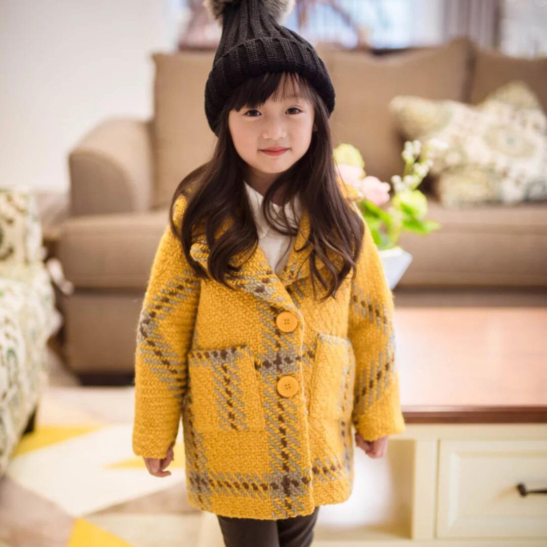 Скидки на Дети носить 2016 новых зимнее пальто женщин Корейский Принцесса Плед Шерстяное Пальто пальто бесплатная доставка