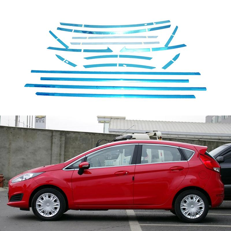 16/8Pcs/Set Full Window Trim Decoration Strips Stainless Steel Car Styling For Ford Fiesta Hatchback 2013 2014 2015 Accessories<br><br>Aliexpress