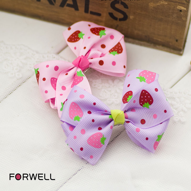 2Pcs/lot children hairpins bow headdress flower print barrettes hair accessories for girls little girls hair clips headwear(China (Mainland))