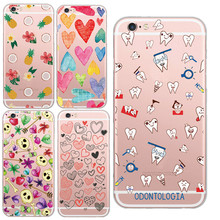 Funny Hear Tooth Fresh Fruit Pineapple Style Cell Phone Case Cover For iPhone 6 6s plus Soft Clear Coque Capa Phone Shell