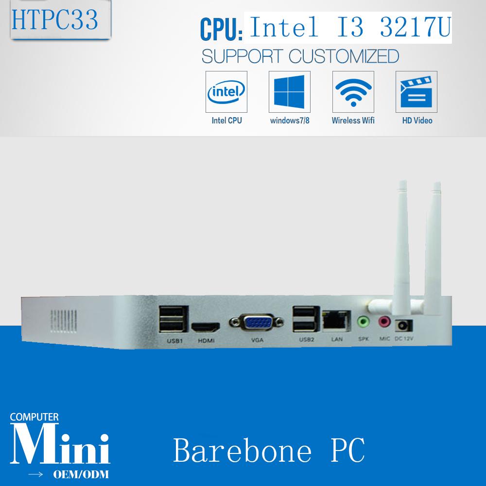 Fanless Mini PC Barebone Windows 7/8/10 Core i3 3217U Dual Nics industrial PC Rugged computer Support WIFI / 3G Module(China (Mainland))
