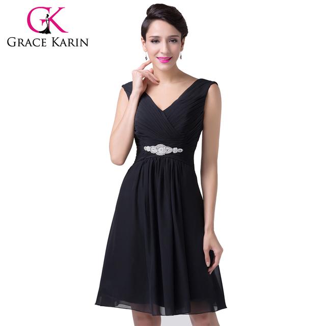 Грейс карин рукавов черный коктейльное платье v-образным вырезом с коротким ну вечеринку ...
