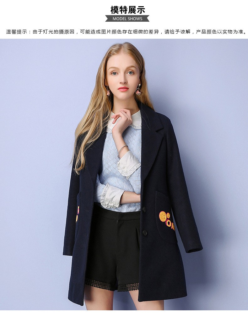 2016 Autumn Winter Fashion Wool Coat Women Long Section Slim  Embroidered Single-breasted Wool Woolen Coat Winter Overcoat G1827