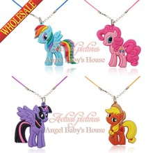 Novelty 4pcs/set My Little Ponies Cartoon Chains Pendant Necklaces Rope Chain Chokers Necklace Travel Accessories Kid Party Gift(China (Mainland))