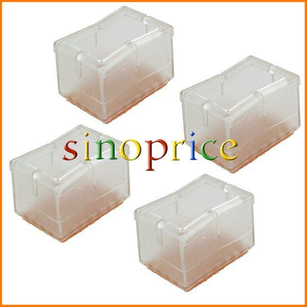 Гаджет  Rectangular Transparent Silicon Gel Chair Leg Caps Feet Pads Furniture Table Covers Wood Floor Protectors Pack Of 8   None Мебель