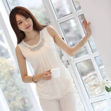 Tops Sale Cotton Long Camisole Chiffon Small Vest 2014 Spring And Summer Diamond Elegant Gentlewomen All-match Basic Shirt Top(China (Mainland))