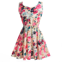 Women Sleeveless Dress Chiffon Floral Printing Elastic Waist Dresses(China (Mainland))