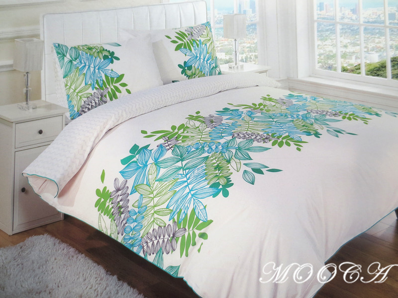 KAS embroidered leaves 3 pieces bedding set quilt pillow cover 100% cotton material modern style white color - Mooca store
