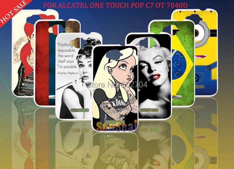 Alcatel One Touch POP C7 OT 7041D Case Russia Brazil Flag Despicable Audrey Hepburn Hard Cell Phone - Sunseai Official Store store