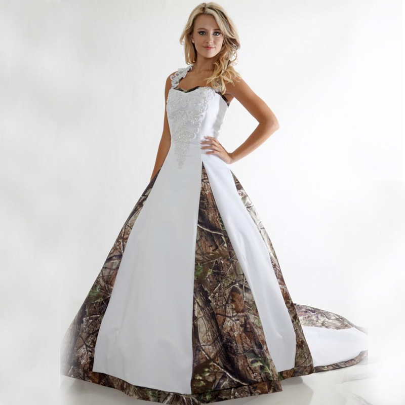 Plus Size Camo Wedding Dress Lace White Camouflage Ball Gown Bridal Dress
