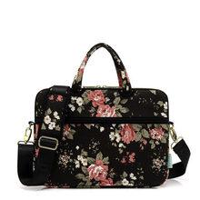Белая Роза Водонепроницаемый Паттен Холст сумка для ноутбука сумка на плечо сумка чехол для молодых девушек 12, 13, 14, 15 дюймов сумка для ноутб...(China)