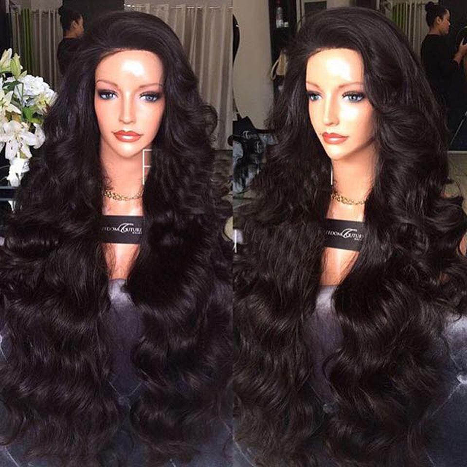 Lace Front Wavy Wig 300% Heavy Density Best Brazilian Virgin Human Hair U pART Wigs With Baby Hair For Black Women<br><br>Aliexpress