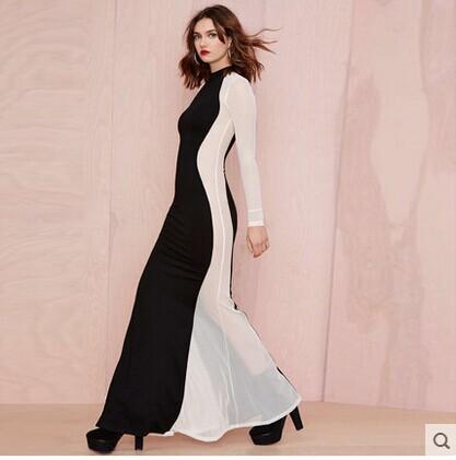 2014 Autumn women's lace patchwork color block long dress original design chiffon nude floor length maxi - NATIONAL FASHION LADY store