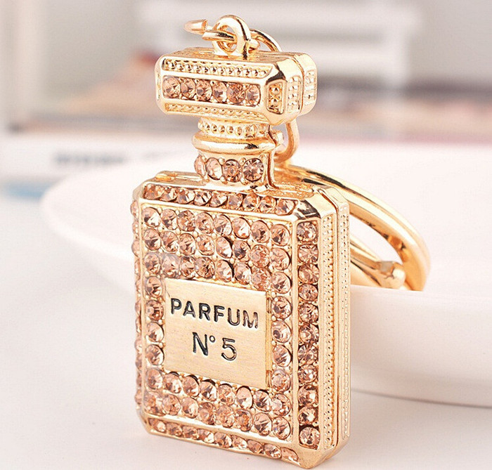 Christmas gift charm Crystal perfume bottle keychain fashion gold-plated key chain ring holder women bag&car accessories(China (Mainland))