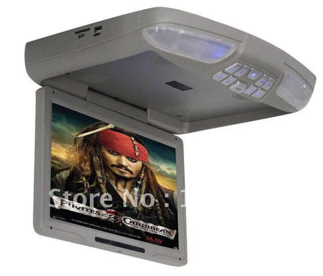 12 inch ROOF MOUNT car DVD Flip down DVD Player with USB/SD/TV/GAME FREE wireless Game joystick car roof mount lcd monitor