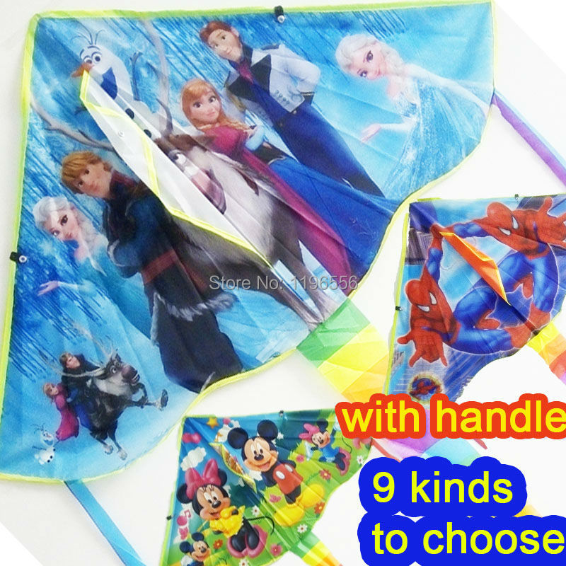 Wholesale 70 Pcs/lot Children's Favourite Cartoon Ripstop Hello Kitty Spiderman Mickey Snow White Elsa Kite With Handle And Line(China (Mainland))