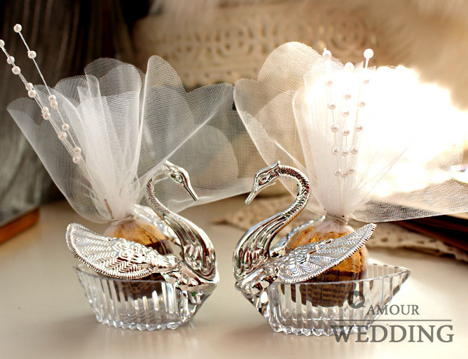 wedding party favor box -- European Styles Acrylic Silver Swan Sweet Gift Jewely Candy box 100pcs/lot(China (Mainland))