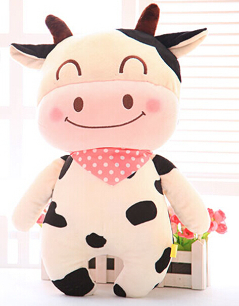 Super lovely 1pc 38cm cartoon happy scarf milk cow cattle cute creative plush doll pillow stuffed toy children girl prize gift(China (Mainland))