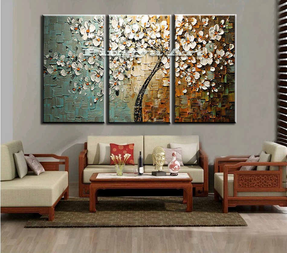 3 Panel Abstract Wall Art Cheap Modern Handmade Tree
