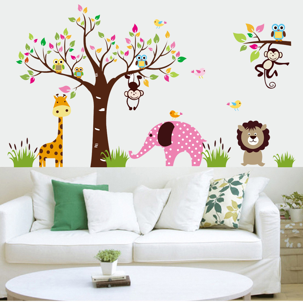 Express free xl large wall stickers kids rooms forest tree for Wall decals kids room