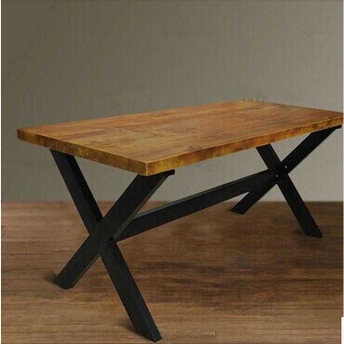 American Retro Wood Antique Dining Table Rustproof Iron