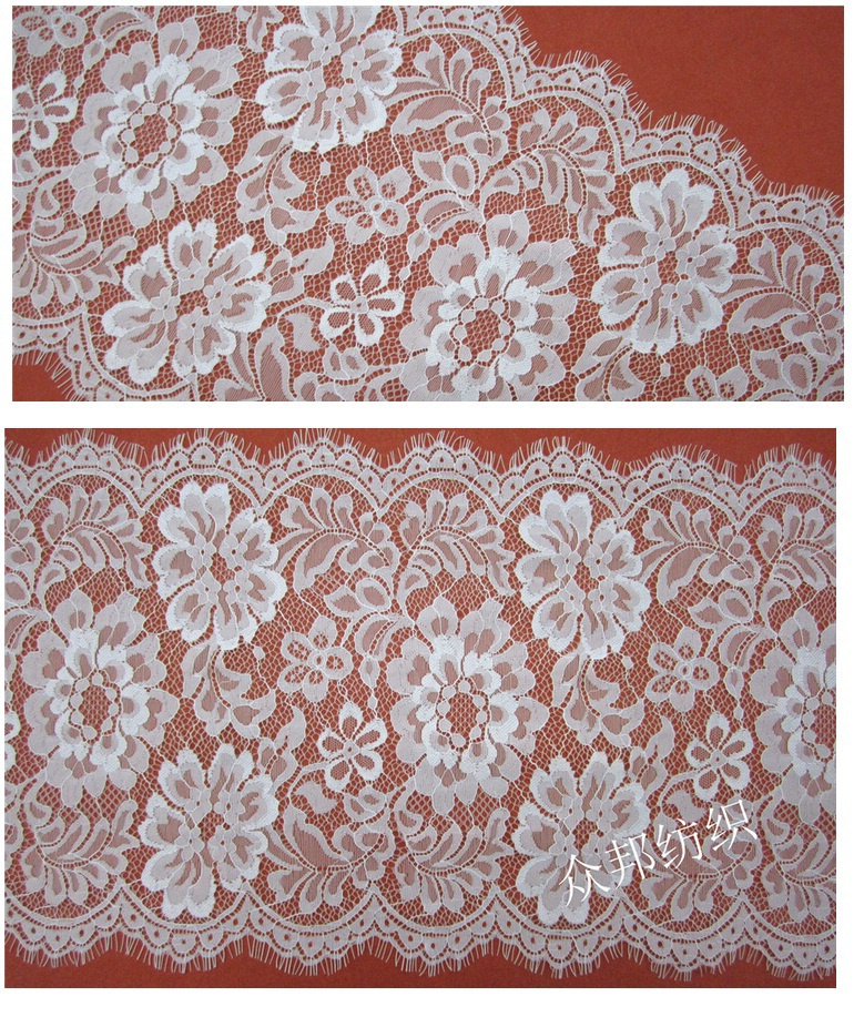 29cm width DIY White Nylon Lace Trim Wedding Dress Fabric,Embroidered Net Lace Trim Ribbon Fabric Decor(China (Mainland))
