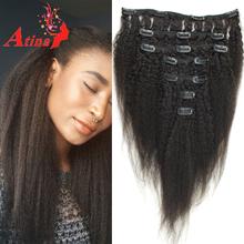 7A Brazilian Virgin Hair Kinky Straight Clip In Human Hair Extensions Italian Coarse Yaki Clip Ins For Black Women Natural Black(China (Mainland))
