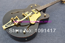 Wholesale - Black G 6120 JAZZ Hollow Color binding electric guitar with Bigsby Tremolo Free shipping(China (Mainland))