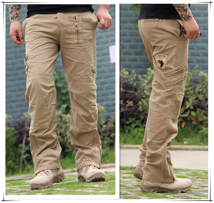 Airborne Jeans Casual Plus Size Cotton Breathable Multi Pocket Military Army Camouflage Cargo Pants For Men