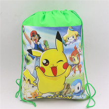 Buy Birthday Party Pokemon go Cartoon Kids Favors Drawstring Bags Baby Shower Non-Woven Fabric Pikachu Backpack Decoration Supplies for $1.08 in AliExpress store