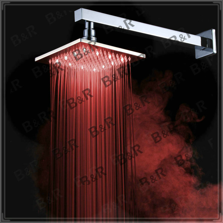 New 8 Inch LED Faucet Bathroom Chrome Shower Head+Shower Arm LED8800A wash tub(China (Mainland))